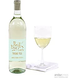 Andaz Press Mint Green Gold Glitter Print Wedding Collection, Personalized Wine Bottle Label Stickers, 20-Pack, Bespoke Custom Name