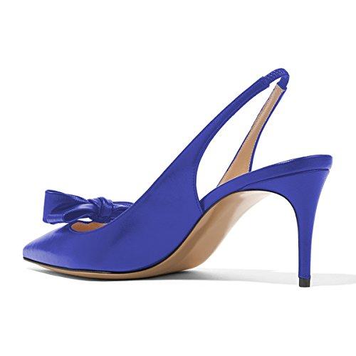 Pompes Xyd Femmes Pointe De La Mode Pointue Slingback Haut Glissement Du Talon Sur Chaussures Habillées Avec Des Arcs Bleus