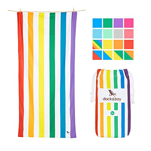 Dock & Bay Rainbow Beach Towels for Travel - Rainbow Skies, Extra Large (200x90cm, 78x35)- Cabana Towel with Stripes, Quick Dry Towel Sand Proof