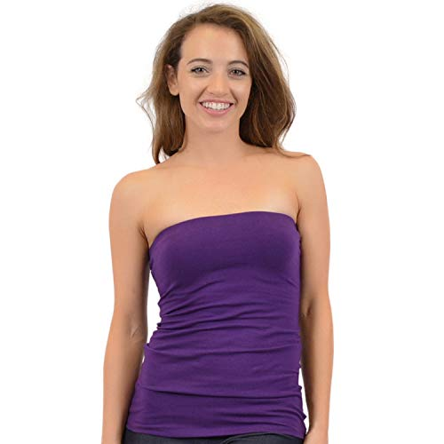 Stretch is Comfort Women's Cotton Strapless Tube Top Purple 2X