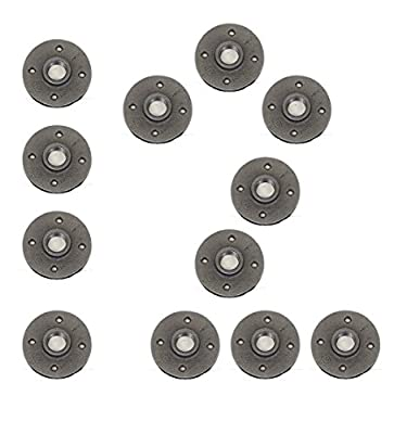 Floor Flanges - Black Malleable Iron - Threaded Pipe Fitting - Industrial Piping - Plumbing Supplies - NPT Female- Pack of 12
