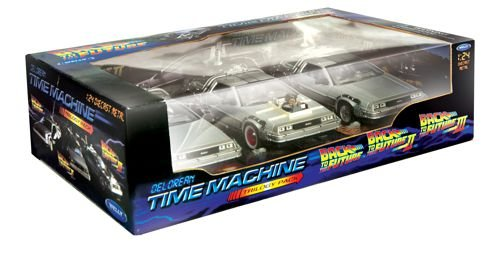 - Welly Back To The Future DeLorean Time Machine 1/24 Scale Diecast Model Trilogy Set Silver