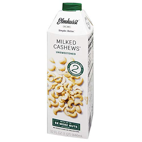 Elmhurst - Unsweetened Cashew Milk - 32 Fluid Ounces. Only 5 Ingredients, 5X the Nuts, Non Dairy, No Added Sugar, Gums or Emulsifiers, Vegan