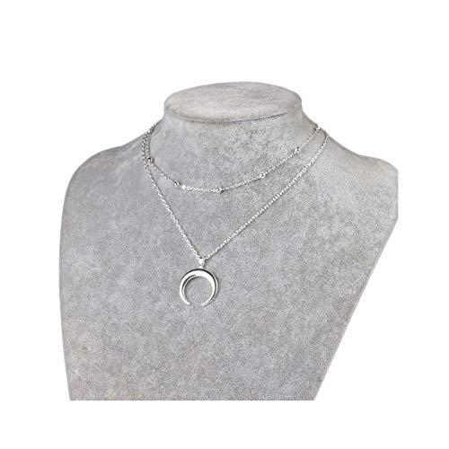 MOCANALA Silver Horn Pendant Layered Choker Necklace Station Ball Chain Necklace Moon Necklace for Women Girls (Moon Silver)