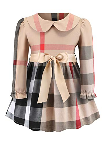 ZANDZ Toddler Kids Baby Girls Plaid Dress Long Sleeve Cute Party Princess Dress (3 Years/Tag4, Beige) ()