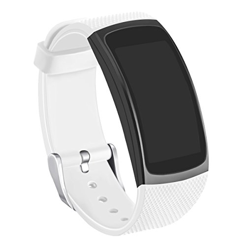 Compatible Gear Fit2 Bands, GHIJKL Silicone Replacement Strap for Samsung Gear Fit 2 & 2 Pro Tracker, White