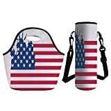 3D Print Neoprene lunch Bag with Kit Neoprene Bottle Cover - NYC Decor - Statue of Liberty on Flag Silhouette of Universal Symbol for Democracy Illustration Art - Blue Red White - for Adults Kids