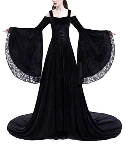 Black Cold Long Shoilder Bell Medieval Jaycargogo Dress Long Sleeve Womens TqaT6zp