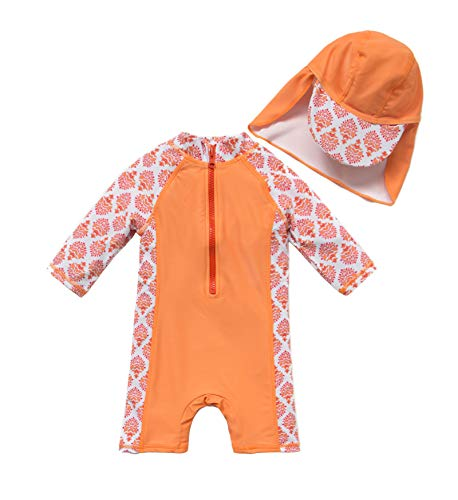 Baby/Toddler Girl One Piece Swimsuit Long Sleeve with UPF 50+ Sun Protection (Orange, 3-6 Months)