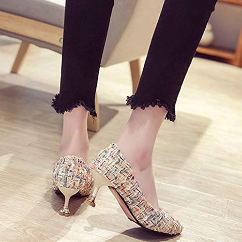 Orangeskycn Women Single Shoes Sandals Fashion Summer Retro Casual Color Woven High Heel Roman Working Shoes White by Orangeskycn Women Sandals (Image #4)