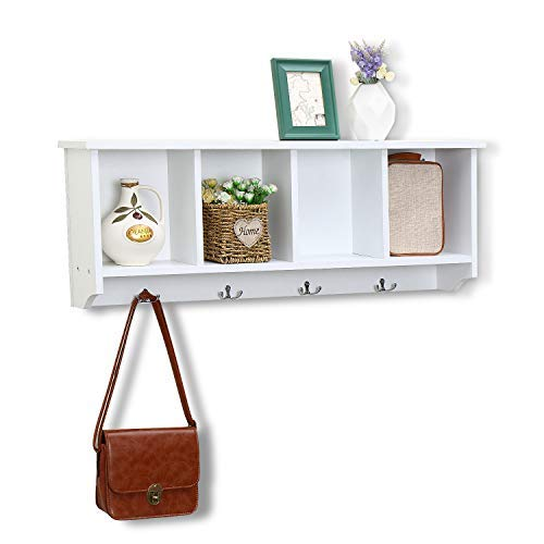 love furniture Floating Shelf Coat Rack Wall Mounted Cabinets Hanging Entryway Shelf w 4 Hooks Storage Cubbies Organizer White