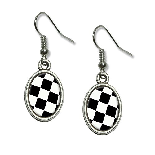 - Checkered Racing Flag Novelty Dangling Drop Oval Charm Earrings