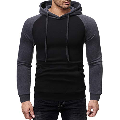 WANQUIY Men Sweatshirt Autumn Winter Patchwork Lightweight Long Sleeve Hooded Pullover Blouse ()