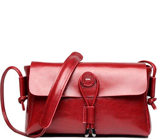 Covelin Women's Fashion Handbag Genuine Leather Envelope Crossbody Shoulder Bag Red