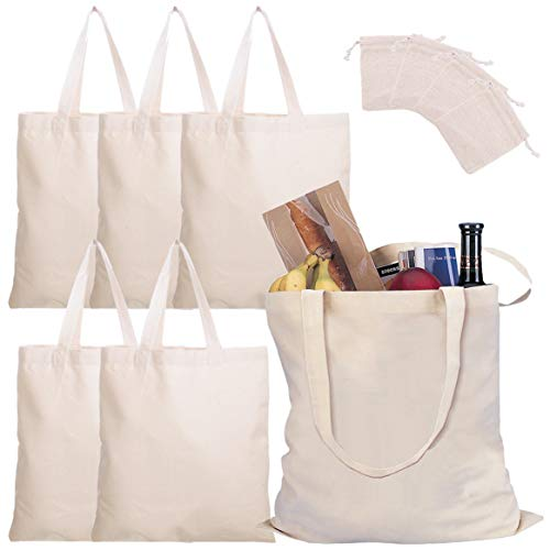 Cotton Tote Bags 6 Pack Canvas Tote Bags Plain Reusable Canvas Grocery Bag Blank Shopping Bag White Cloth Bag with Handles for Decorating Art Craft Bible Bookbag Events Schools Beach, 14 x 14 Inch -
