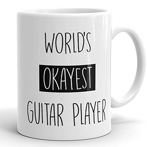 Price comparison product image Worlds Okayest Guitar Player Mug - Funny Coffee Cup For Guitarist 11 OZ Coffee Mugs Sarcasm Coworker Gag Gift