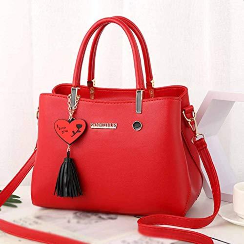 La Pequeños Rojo Mensajero Mujer Moda Bolsos Grandes Cuero Solapa De Hombro Borla Bandolera Ansenesna Del xpwgqf7q