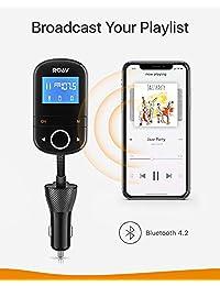 Anker Roav SmartCharge F3, Adaptador de radio para transmisor FM inalámbrico para el automóvil, Receptor Bluetooth 4.2, Aplicación ROAV dedicada, Carga rápida 3.0, Salida AUX, Unidad USB, Ranura para tarjeta microSD