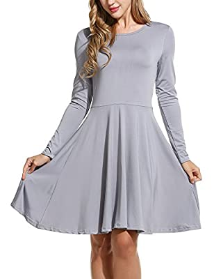 Meaneor Women's Elegant Solid Long Sleeve Scoop Neck Fit and Flare Mini Dress