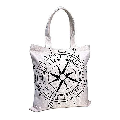 iPrint Cotton Linen Tote Bag, Compass,Black and White Windrose with Simplistic Design Direction Navigation Primitive Decorative,Black White,for Shopping Camping School Casual Pocket