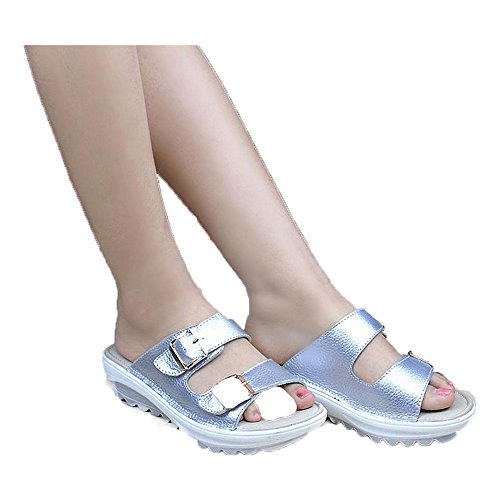 Available Toe Piattaforma Donna 8 Casual Scarpe Argento Open Pantofola Eleganti Pelle Sandali Kemosen Color in Estive Sw1qpP