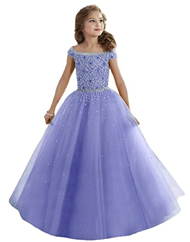 GuaGuaegg Girl's Ball Gown Pageant Dresses Custom Party Princess Light Purple 10 by GuaGuaEgg