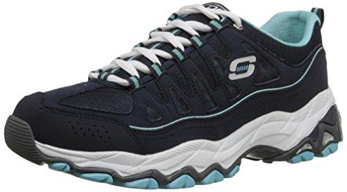Skechers Sport Women's Be Seen Fashion Sneaker, Navy Light Blue, 9 M US