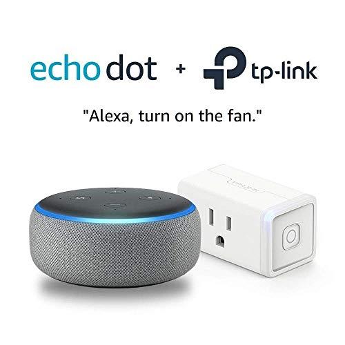 Echo Dot (3rd Gen) Heather Gray Bundle with TP-Link simple set up smart plug