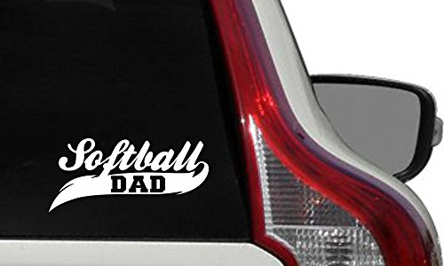 (Dad Softball Banner Car Vinyl Sticker Decal Bumper Sticker for Auto Cars Trucks Windshield Custom Walls Windows Ipad Macbook Laptop Home and More (WHITE))