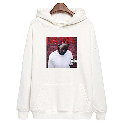Kendrick Lamar Damn Album Cover Hoodie Damn Hip Hop Sweatshirt Rap White (XL, White) (Pullover Cover Hoodie)