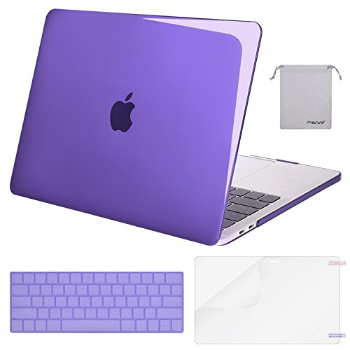 MOSISO MacBook Pro 13 Case 2018 2017 2016 Release A1989/A1706/A1708, Plastic Hard Shell & Keyboard Cover & Screen Protector & Storage Bag Compatible Newest Mac Pro 13 Inch, Crystal Violet
