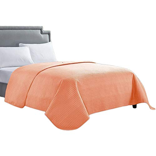 HollyHOME Solid Color Bed Quilt for Twin Size Bed, Coral (Twin Quilt Solid)