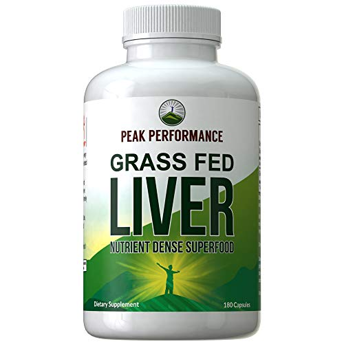 Grass Fed Beef Liver 180 Capsules by Peak Performance. Dessicated Liver Superfood Pills Rich in Vitamins, Antioxidants, Amino Acids. Great for Adrenal and Immune Support, Skin, Joints. 180 Tablets -