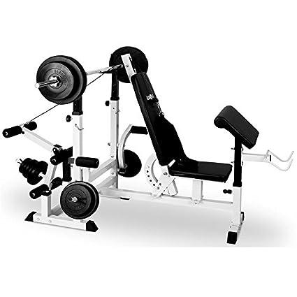 Klarfit FIT-KS02 Banco de Musculación con Curler y Set de Pesas • Entrenamiento para