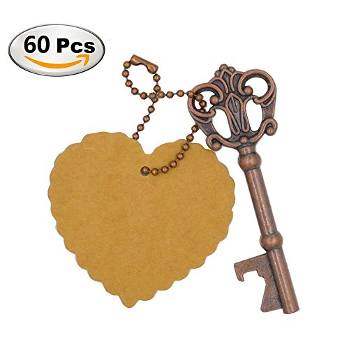 Antique Wedding Favors (DerBlue 60 PCS Key Bottle Openers,Vintage Skeleton Key Bottle Opener,Skeleton Key Bottle Openers Wedding Favors Antique Rustic Decoration with Heart shaped kraft paper label card)