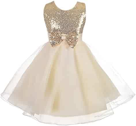 bc759c369 Dressy Daisy Girls' Sequined Tulle Dress Wedding Flower Girl Pageant  Occasion