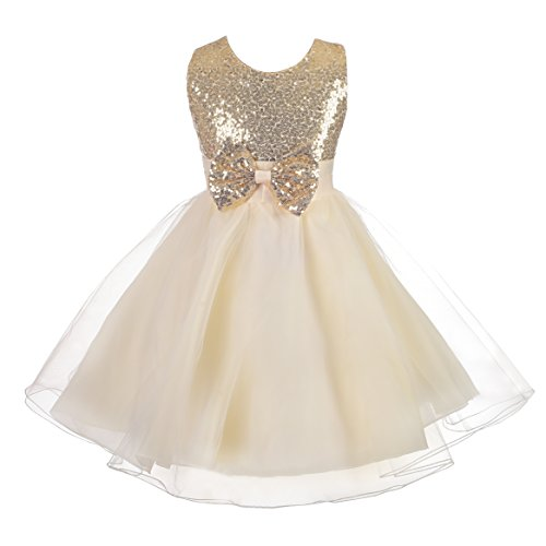 Dressy Daisy Girls' Sequined Tulle Dress Wedding Flower Girl Pageant Formal Occasion Size 3T Gold