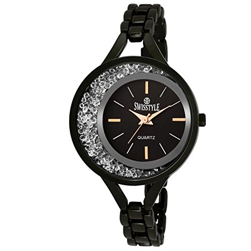 be366a2b24b Buy SWISSTYLE Analogue Black Dial Women s Watch-SS-LR1419-BLK-CH Online at Low  Prices in India - Amazon.in
