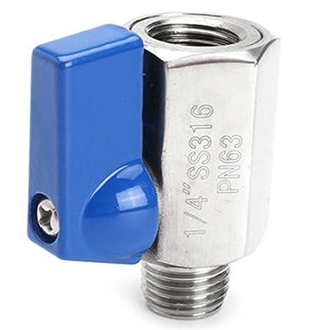 mango Mini válvula esférica de acero inoxidable con manilla pn 63 mordaza unilateralmente mini