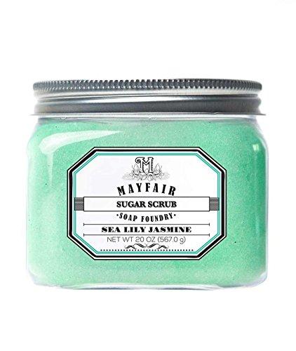 Jasmine Hand Polish (Mayfair Soap Foundry | Sugar Scrub in Sea Lily Jasmine 20 oz | Exfoliate & Soften Dry Skin with Natural Pumice & Sugar)