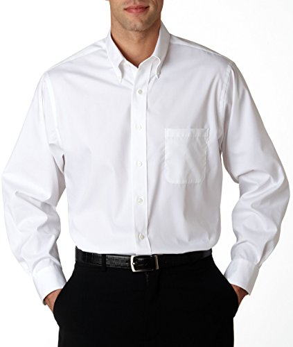 Van Heusen Men's Long Sleeve Blended Pinpoint Oxford Shirt, White, XX-Large ()