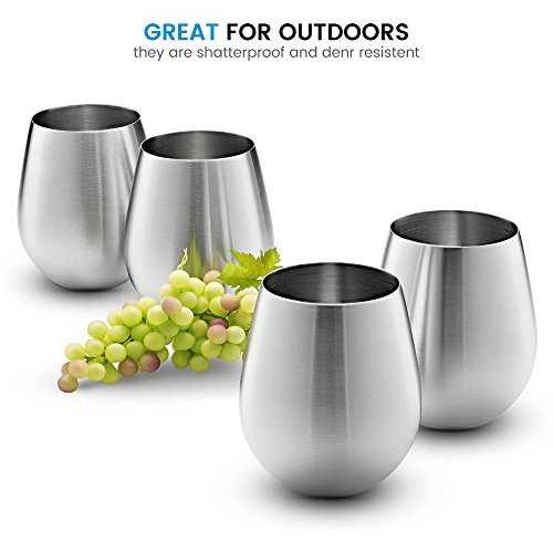 Stainless Steel Wine Glasses - Set of 4 Large & Elegant 18 Oz. Premium Grade 18/8 Stainless Steel Red & White Stemless Wine Glasses, Unbreakable, Portable Wine Glass, for Daily Outdoor Events, Picnics by FINEDINE (Image #1)