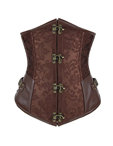[Shaperdiva Women's Steampunk Underbust Corset Waist Cincher Gothic Bustier Top (L/ Waist:30-32inch US Size:10-12,] (Brown Leather Corset)