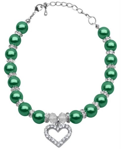 Mirage Pet Products 10 to 12-Inch Heart and Pearl Necklace, Large, Emerald Green by Mirage Pet Products