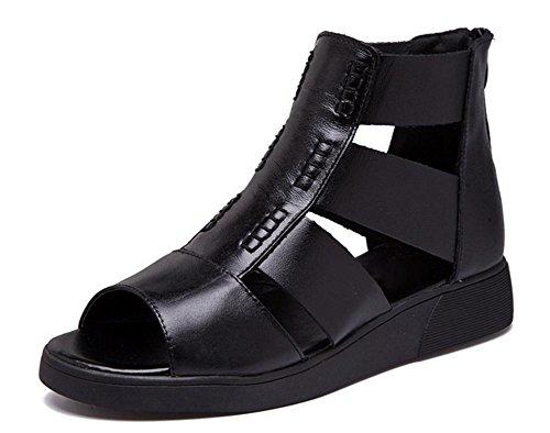 Verano zapatos de moda pendiente con sandalias de plataforma sandalias de las mujeres redondas Black