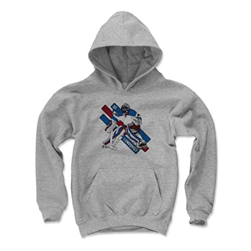 500 LEVEL's Henrik Lundqvist Kids Hoodie Youth X-Large Gray - New York Hockey Fan Apparel - Henrik Lundqvist Stripes (Hockey Kids Hoodie)