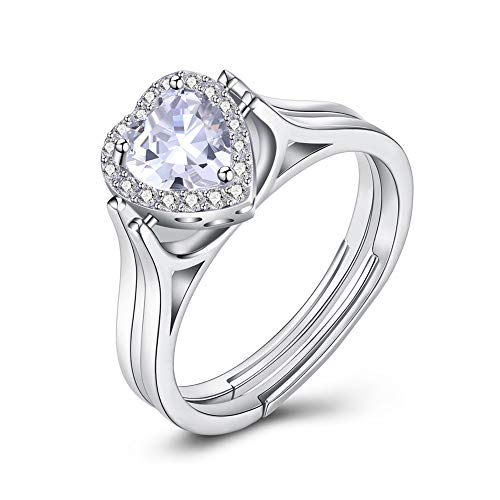 Xinmeitezhubao S925 Sterling Silver Ring Women's Heart Double Layer Reversible Sterling Silver Ring Shiny Engagement Ring Diamond