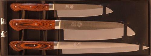 Zweibrüder 3 teiliges Sushi / Küchen-Messerset aus gehärtetem Stahl