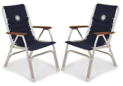 FORMA Marine Set of 2 High Back Deck Chairs, Boat Chairs, Folding, Anodized, Aluminium, Navy Blue, Model M150NB