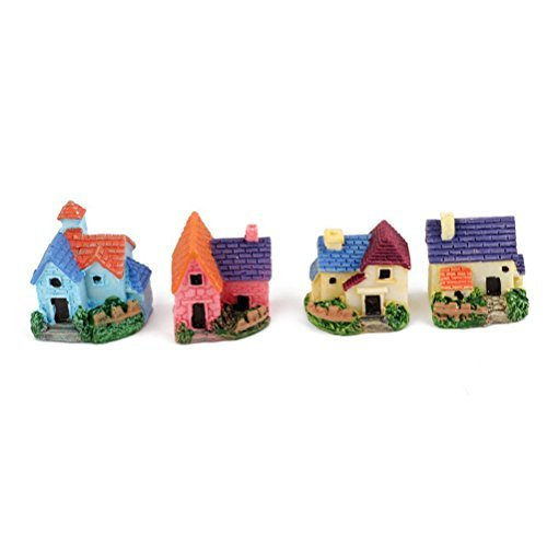Tinksky 4pcs Miniature Dollhouse Bonsai Craft Garden Resin Landscape DIY Villa Decor, Birthday Gift for Children, Christmas Gift (House Mini Figurine)